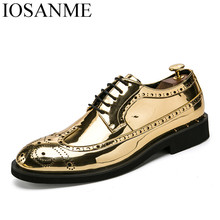 цены gold silver cool desinger brogue oxford shoes for men italian formal ballroom dress footwear new male patent leather flats shoes