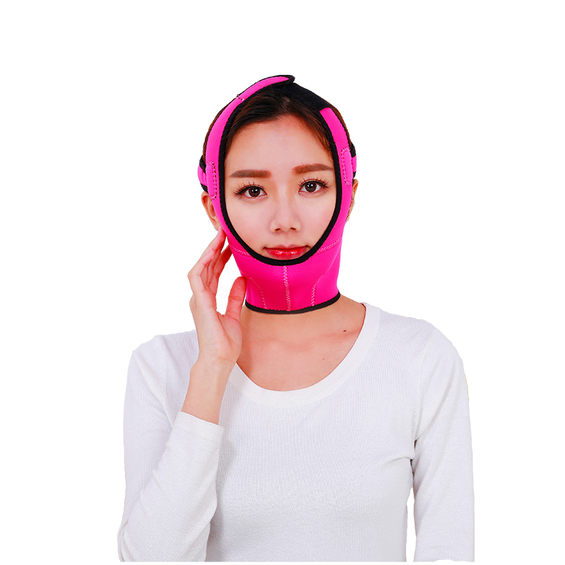 High Quality Free Size Full Face Lift mask Strengthen type Slimming supports Double Chin massage breace Beauty Face Bandage Belt red color silicone face slim lift up belt facial slimming massage band mask personal beauty gift