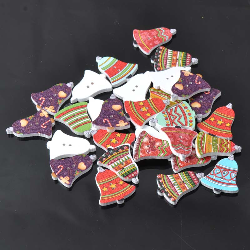 Jingle Bells роспись Пуговицы Bouton Буа деревянные декоративные Рождество Craft Интимные аксессуары смешанные Цвет 20×25 мм 50 шт. mt0349