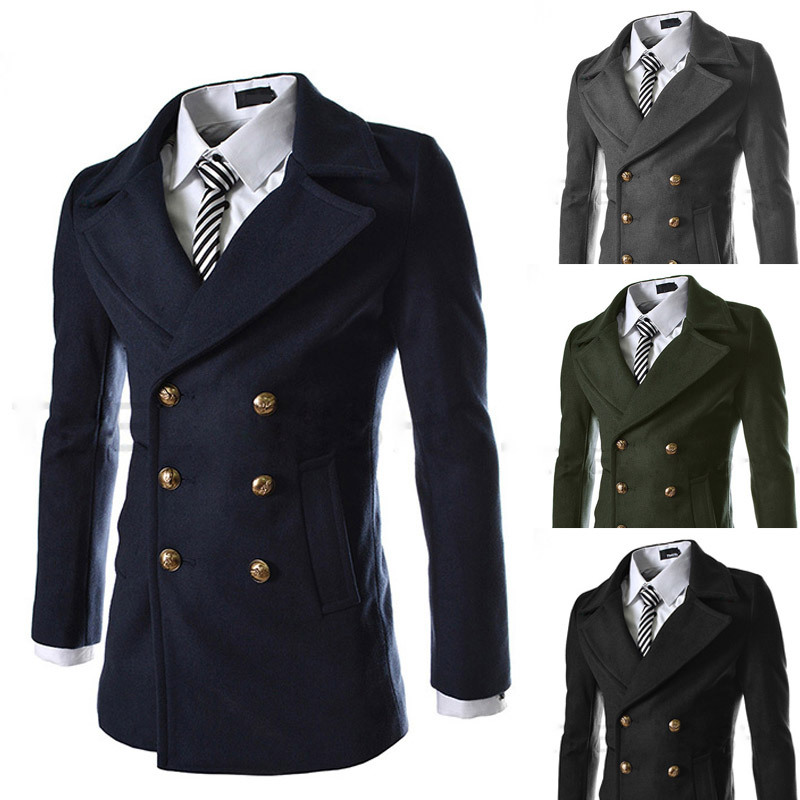 2014 New Winter Luxury Metal Buttons Mens Jackets Slim fit Outerwear Double Breasted Coat Woolen Overcoat