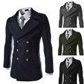 2014 nuevo invierno botones de Metal de lujo del Mens chaquetas Slim fit abrigos abrigo de doble botonadura abrigo de lana envío gratis M-XXL