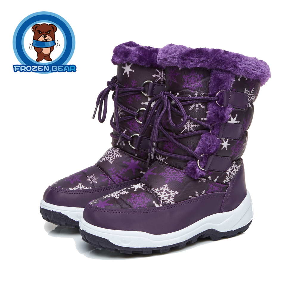 Fur Soft Warm Boots Pattern Waterproof Snow Kids Winter Shoes Flat Plush Mid-calf Booties Baby Little Girls Boy Infant KT903-12B new winter baby hat real fur pom pom knitted toddler kid thick warm double raccoon fur balls beanies boys girls bonnet gorros f3