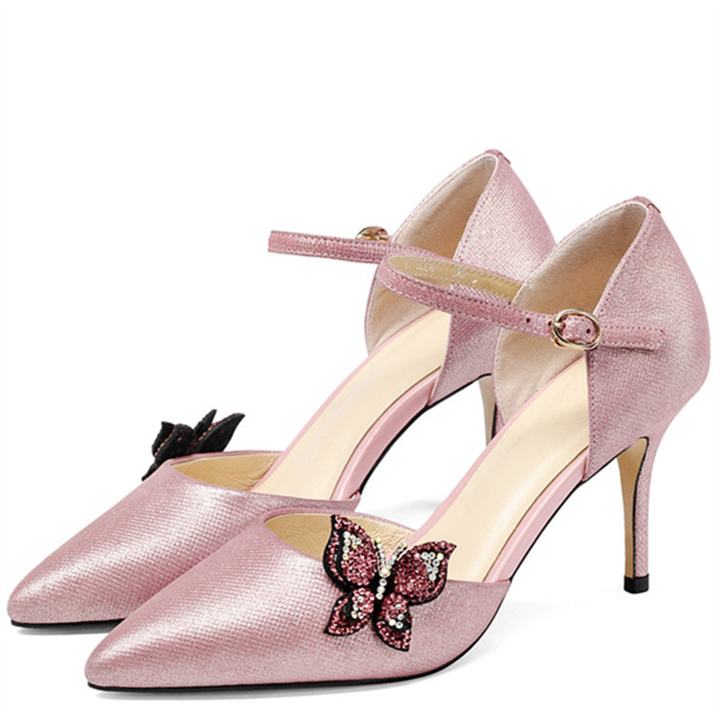 LOVEXSS Rhinestone Heeled Sandals Butterfly Genuine Leather Sexy Party Ball Pink Pumps Wedding Pointed Toe High Heeled Shoes lovexss genuine leather sandals heel wedding party square toe black pink pumps high woman shoes plus size 33 43 sandals 2017