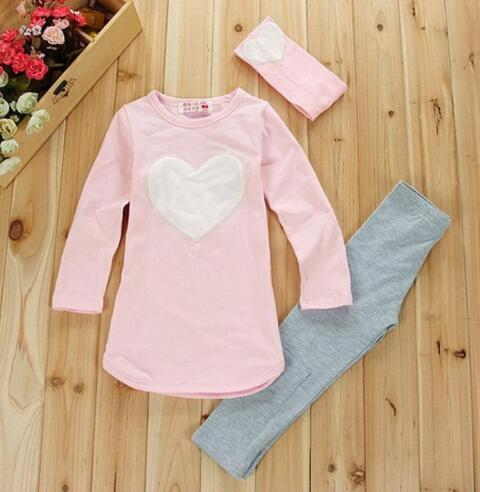 JENYA 3PCS LOVE SET 1pc Hair Band 1pc Shirts 1pc Pants Children 39 s Clothing Set Girls Clothes Suits Pink Red Pink Heart in Clothing Sets from Mother amp Kids