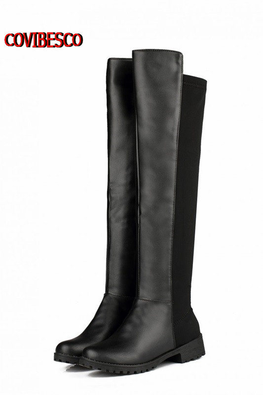 ФОТО Big Size33-43,3 styles Women's Snow Boots Over the Knee Boots Casual Dress flats  Warm Fashion Sexy stone grain pu leather Shoes