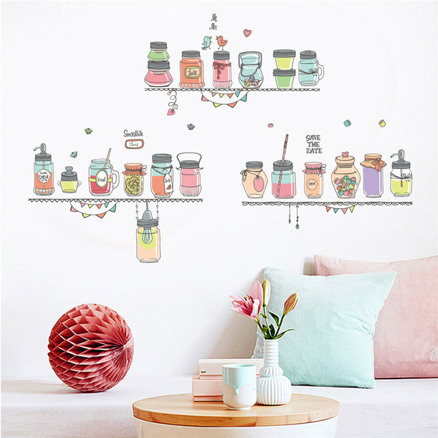 for livingroom or kitchen background candy jar removable wall decal