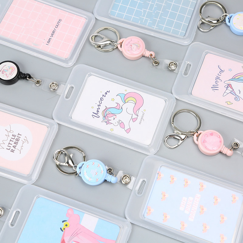 Creative Cute Unicorn Bank Credit ID Card Holder Cover Women Travel Bank Bus Credit Card Card Holder Keyring Key Wallet Chain