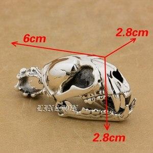 Image 4 - 925 argent Sterling énorme lourde défense Fang tigre Lion roi crâne hommes garçons Biker Rock Punk pendentif 9T024 juste pendentif