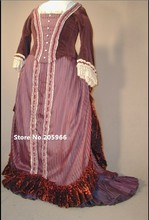 Costum Made to your Size 1800s Victorian Velvet&Silk Bustle Day Dress/Walking Suit/Party Dress