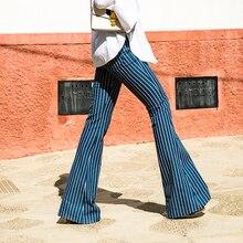 2017 autumn vertical stripe denim trousers autumn women's high waist bell bottom jeans