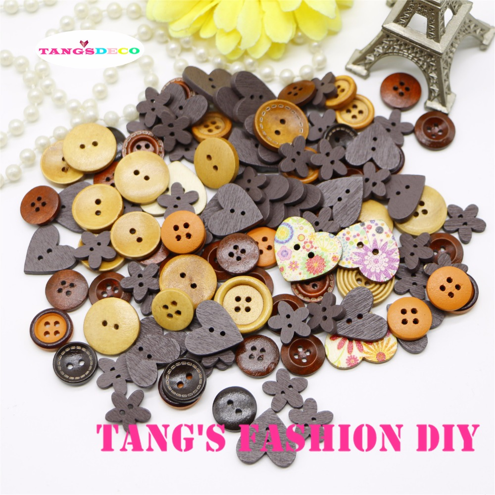 100pcs--- brown/coffee style color mix wooden button color/ shape mix