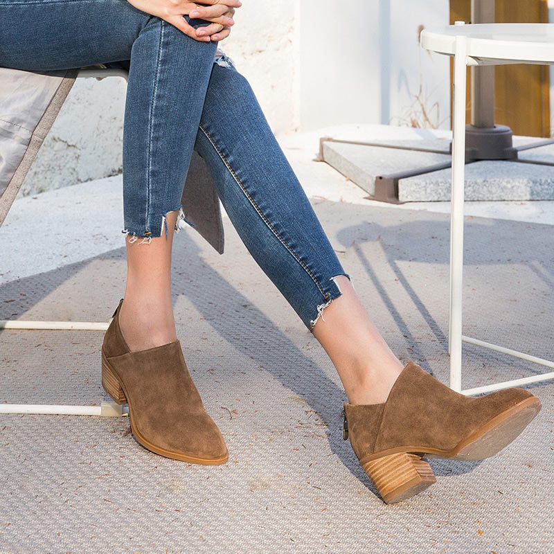 BeauToday รองเท้าผู้หญิงส้นสูงรอบ Toe ซิป Handmade หนังวัวแท้หนังนิ่มข้อเท้า Boot ฤดูใบไม้ผลิฤดูใบไม้ร่วงรองเท้า 03315-ใน รองเท้าบูทหุ้มข้อ จาก รองเท้า บน   3