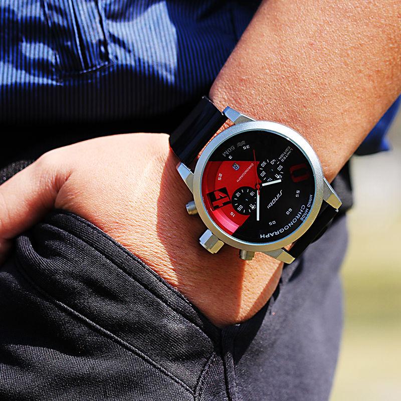 7431a3ed6db SINOBI Nova Fast   Furious Chronograph Mens Sports Relógios de Pulso  Pulseira De Borracha Homens de Luxo Da Marca Genebra Relógio De Quartzo  2017 em ...