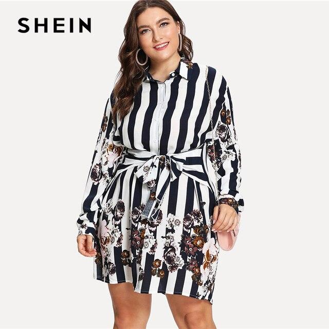 8fad3736c23 SHEIN Stripe   Flower Print Shirt Dress 2018 Summer Stand Collar Long  Sleeve Floral Print Dress