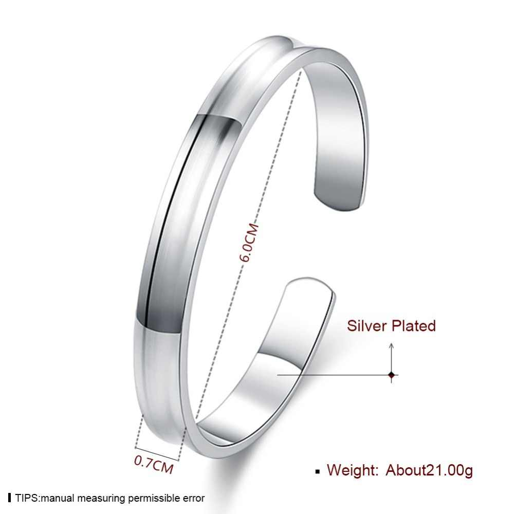 Brand New Cuff Bangle 925 Sterling Silver Fashion Smooth Round Open Bracelets Bangles Women Minimalist Fine Jewelry