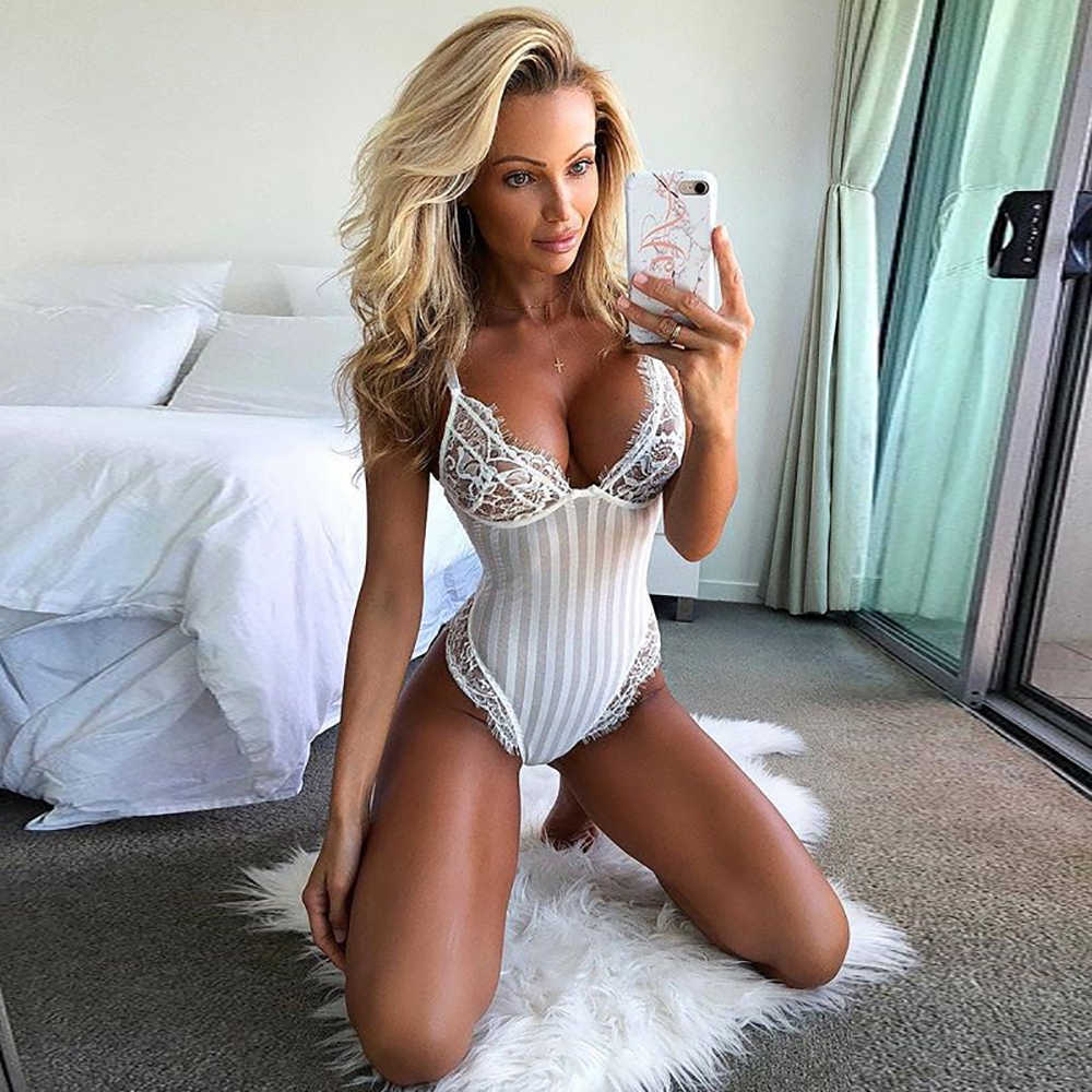 f8eab19c689 Sexy Halter Lace Bodysuit Women Skinny Hollow Out Black Jumpsuit Romper  Body Female Overalls Mesh Backless
