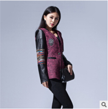 women jacket Winter Women Korean Slim a buckle woolen jacket coat Girls long section of stitching free shipping