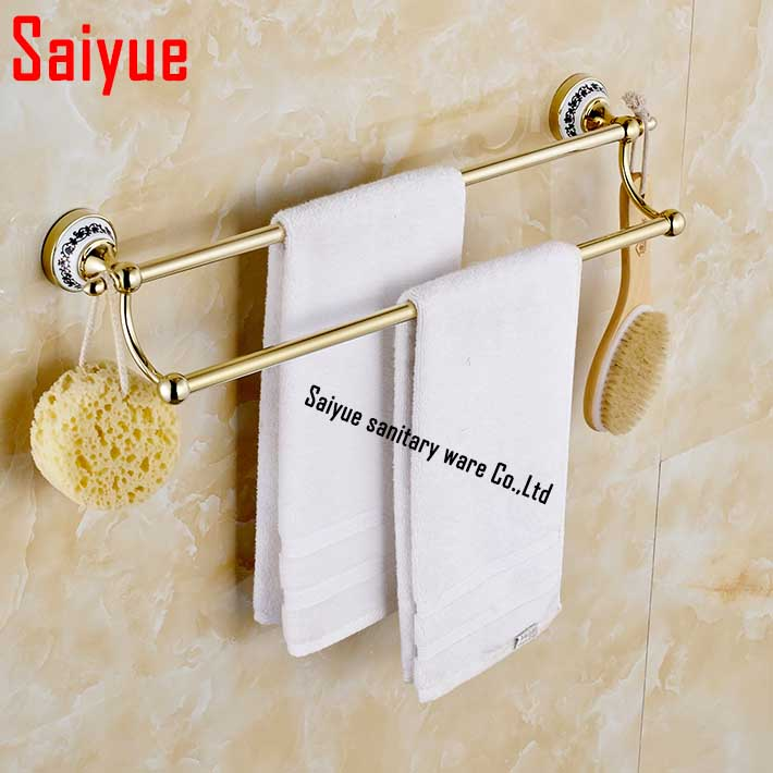 (24,60cm) Double Towel Bar zinc alloy with  ceramic gold finish/Towel Holder,towel rack with hook ,Bathroom accessories