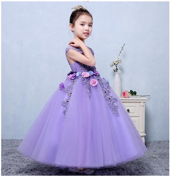 Girls Formal Dresses 2018 Summer Flowers Girls Dress Cute Kids Gauze Party Ball Gown Children's Catwalk Wedding Dresses Purple