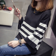 Milinsus 2019 Autumn Winter Tops Korean Style Women Knitted Sweater Striped Plus Size Pullover Sweaters Jersey Mujer Knitwear