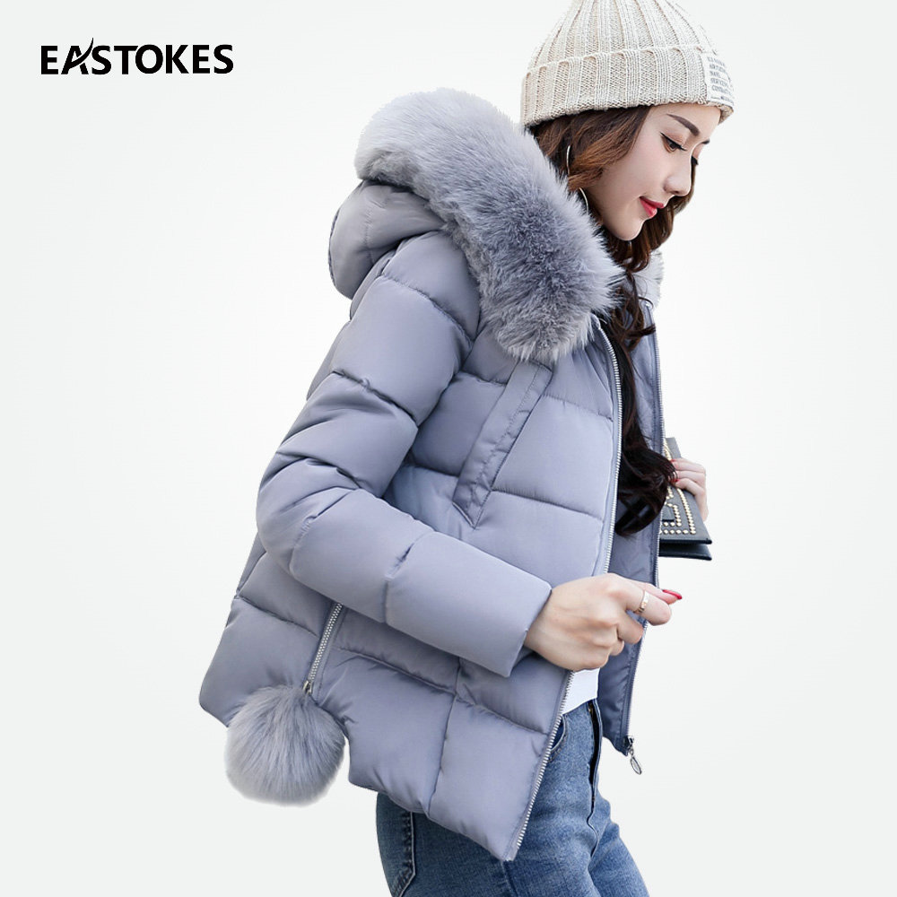Women Coats Waist Length Hooded Jackets With Fur Collar Zipper Coats For Ladies Hooded Jackets Female Parkas