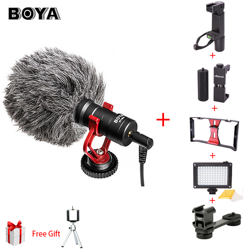 BOYA BY-MM1 Video Record Microphone Compact VS Rode VideoMicro On-Camera Recording Mic for iPhone X 8 7 Huawei Nikon Canon DSLR u grip video action stabilizing handle grip rig set with by mm1 videomicro phone led on camera light for iphone canon nikon
