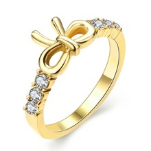 Позолоченные Кольца Для Женщин Милые Бантом Палец Кольца Кристалл Высокое Качество Свадебные Femme Ювелирных Изделий Кольца Для Женщин