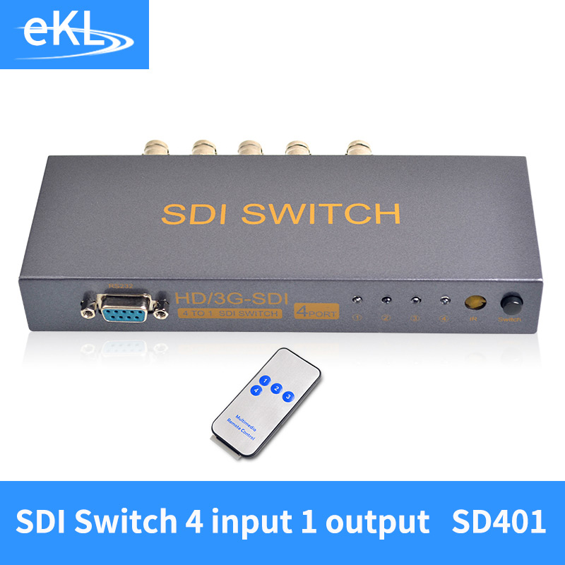 EKL 4 Ports SDI Switcher 4 input 1 output Switch 4 way 3G-SDI Sources to 1 Output With Remote Controller Power Adapter