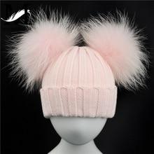 冬のベビーニット帽子2ポンポン少年少女毛皮ボールビーニーキッズキャップダブルリアルファーポンポンポンポン帽子子供のための