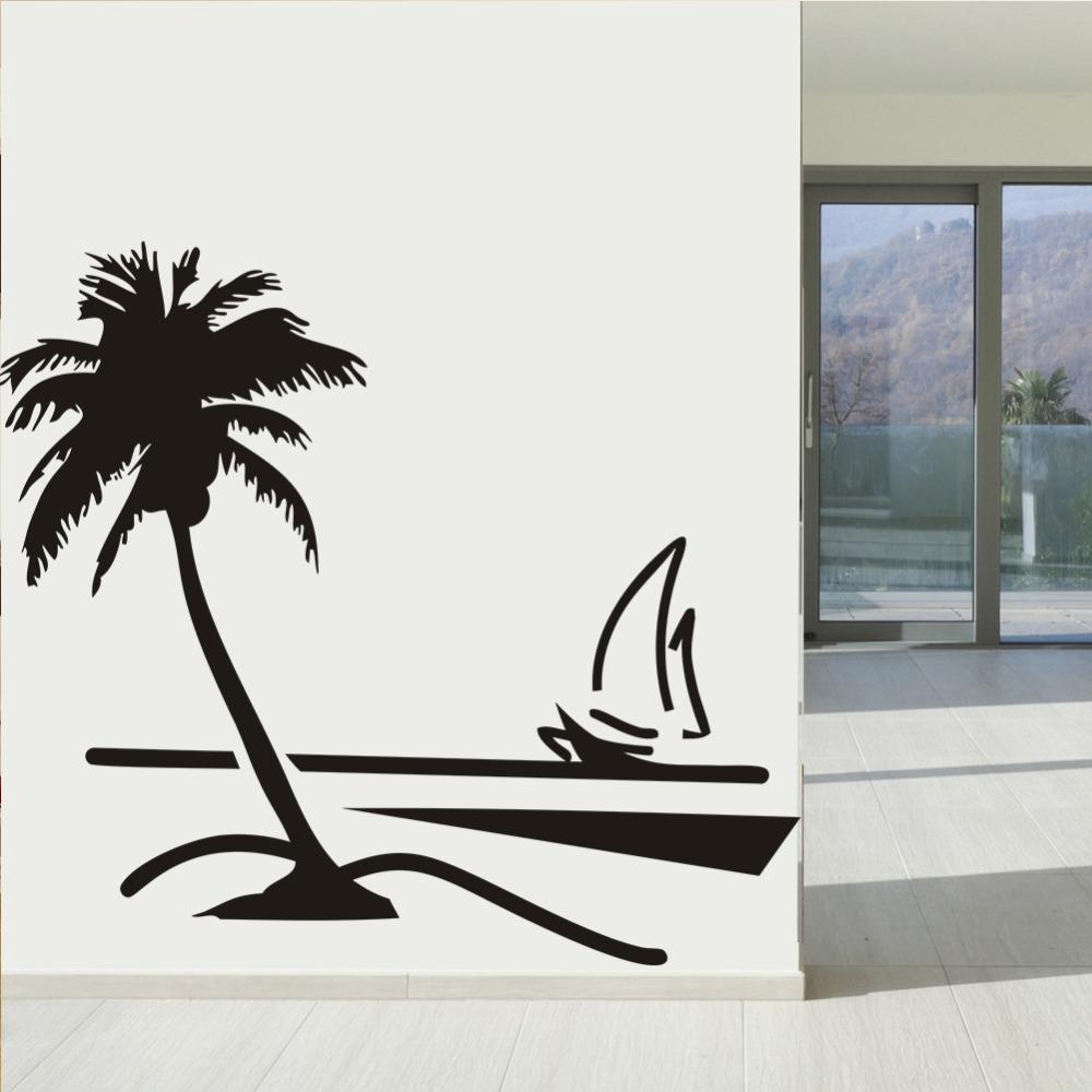 Playa Coconut Palm Tree velero arte de pared baño vidrio arte ...