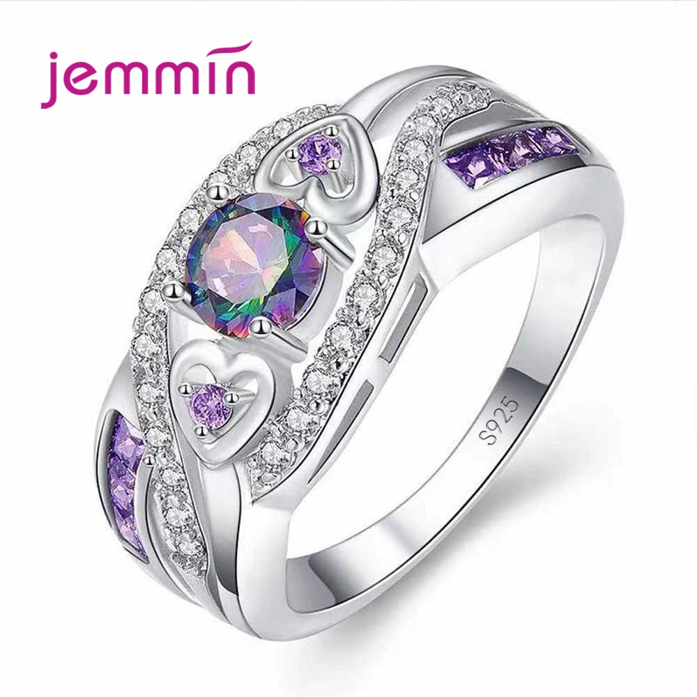 Hot Sale Shining 925 Sterling Silver Band Rings 5A Rainbow Mystic Cubic Zircon Heart True Love Wedding Jewelry Gifts Big Size
