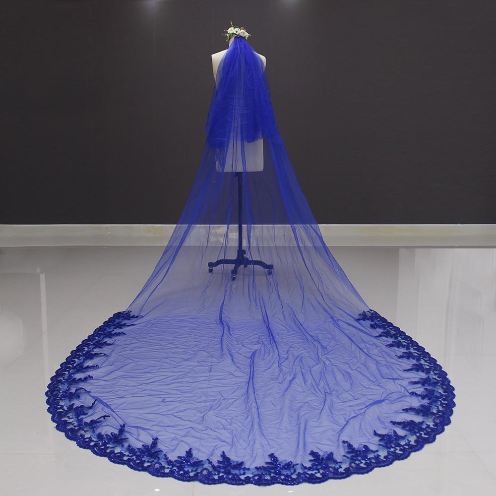 2017 nieuwe kant op onderste twee lagen koningsblauw 3 meter lange - Bruiloft accessoires - Foto 2