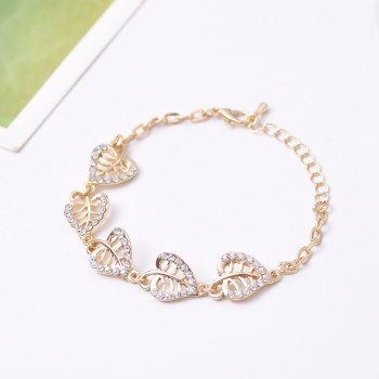 Hesiod Luxury Women Love Bracelets Crystal Leaf Heart Pendant Charm Bracelets for Women Wedding Party Jewelry Wholesale