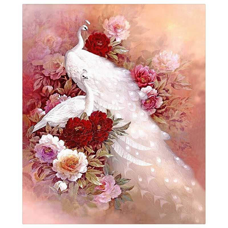Animals Mosaic DIY diamond Painting crystal white peacock 3D Cross Stitch Decorative diamond embroidery square Rhinestone zx