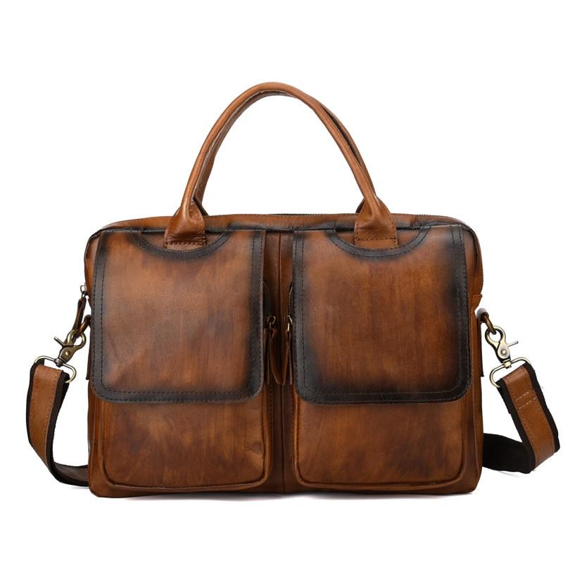 Brand Genuine Leather Business Briefcase Document Portfolio Men's Handbag Handle Cross Body Bag Male Shoulder Messenger Bags