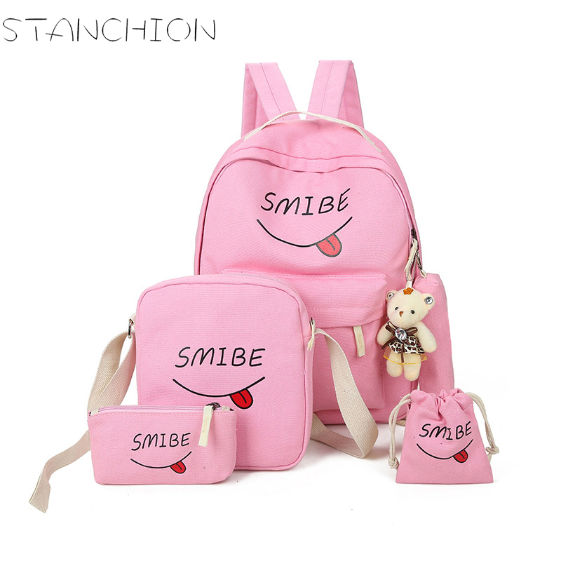Canvas Backpack For Women Printing 5 Pcs Students School Bag Set For Youth Girls With Purse Bear Mochila