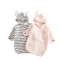 2018 New Baby Knitted Striped Blanket Stroller Blanket Rabbit Newborn Baby Girl Boys Wrap Swaddle Clothes Baby Girl Romper