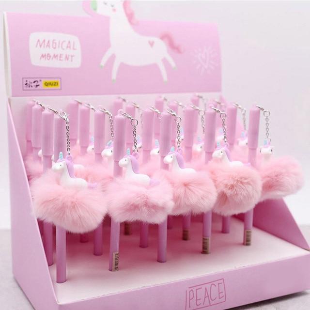 1 шт. милые Kawaii Плюшевые игрушечные единороги мягкие животные Licorne игрушка для детей мягкий шар кулон гелевая ручка oyuncak школьный подарок