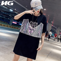 HG 2019 Summer New Sequined Patchwork Big Size T Shirt Loose Fashion Korean Style Tshirt Plus Size Individuality Tops ZYQ1058