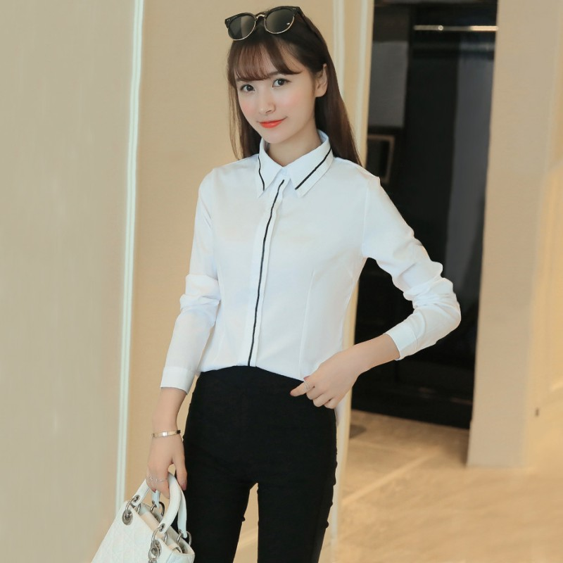 a5dbc938e6d2e Jlong Korean Style Women Fashion Blouse Ladies Work Wear Office Blouse  Shirt Women Elegant Ruffles Long Sleeve White Shirt 2018-in Blouses   Shirts  from ...
