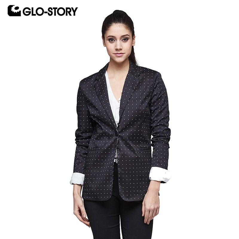 GLO-STORY Womens Blazers Long Sleeve White Polka Dot Black Blaser Femenino 2017 Woman Single Button Office Jackets WXZ-3714