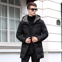 Brand 2018 New Winter Collection Men's Down Jacket Casual Mid Long Thick Warm Hooded Duck Down Coat Men Slim Outwears CO126