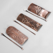 30 sets Vintage Handmade Copper Tea Scoop Spoon Tea Leaves Chooser Holder Chinese Kongfu Tea Accessories Tools R022