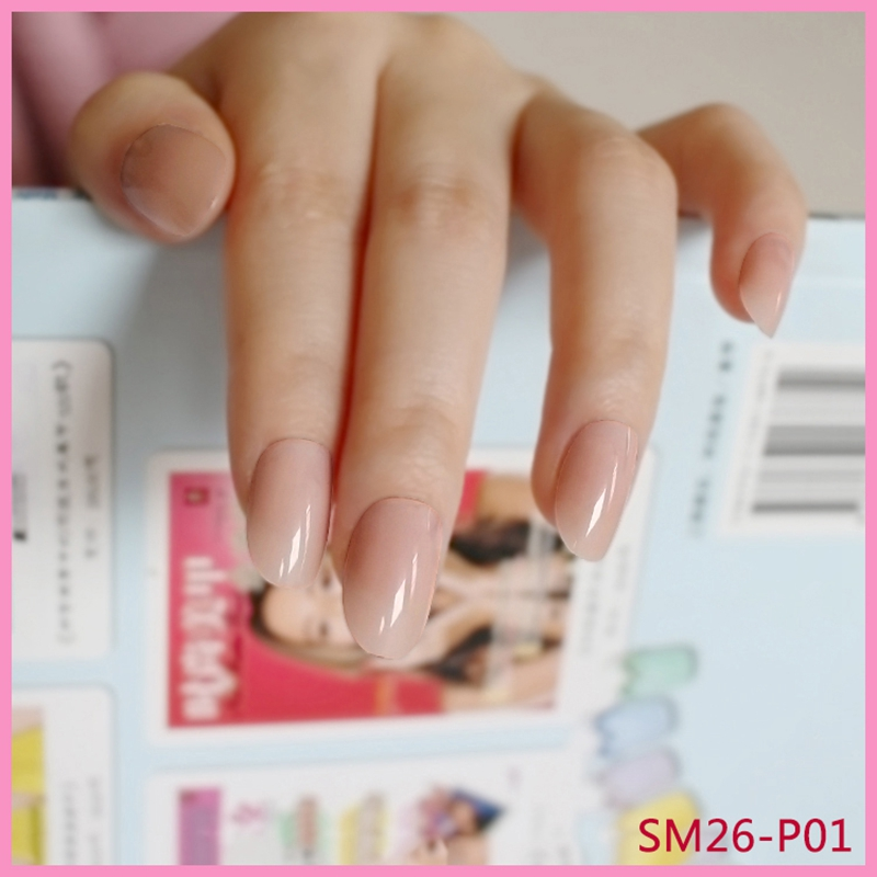 Lovely Short Oval Fake Nails Pink Sweet Candy Nail Small Round Head Diy Product 24pcs P01x