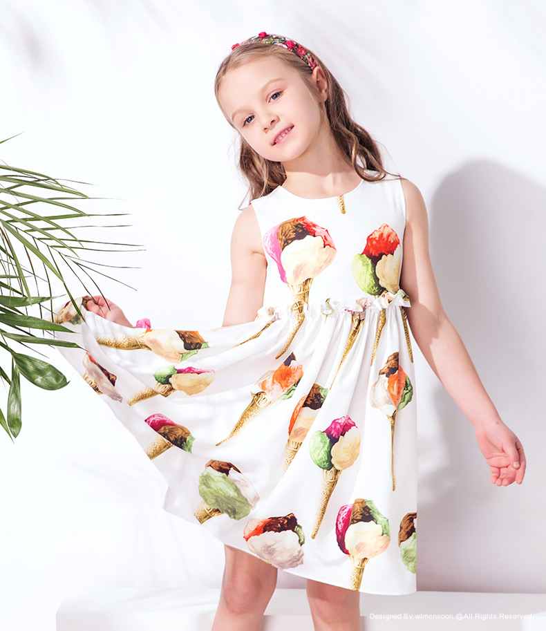 W.L.Monsoon Girls Ice Cream Dress Vestidos 2017 Summer Brand Princess Costumes Kids Dresses for Girls Clothes Robe Fille Enfant kids dresses for girls costumes 2017 brand girls summer dress ice cream print robe fille enfant princess dress children clothing