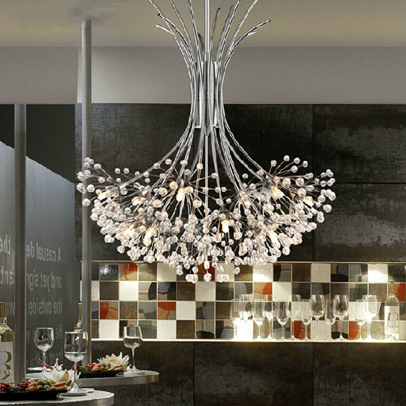 Modern K9 Crystal Chandelier G4 LED Dandelion H80cm Lights Lustre Sitting Room Indoor Decorative Ceiling Lamp Tree Lampshade noosion modern led ceiling lamp for bedroom room black and white color with crystal plafon techo iluminacion lustre de plafond