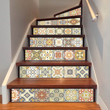 цена на DIY Tile Decals Wall Sticker Removable Living Room Stairs Floor Waterproof PVC Stair Sticker Home Decor Staircase Decal 100x18cm