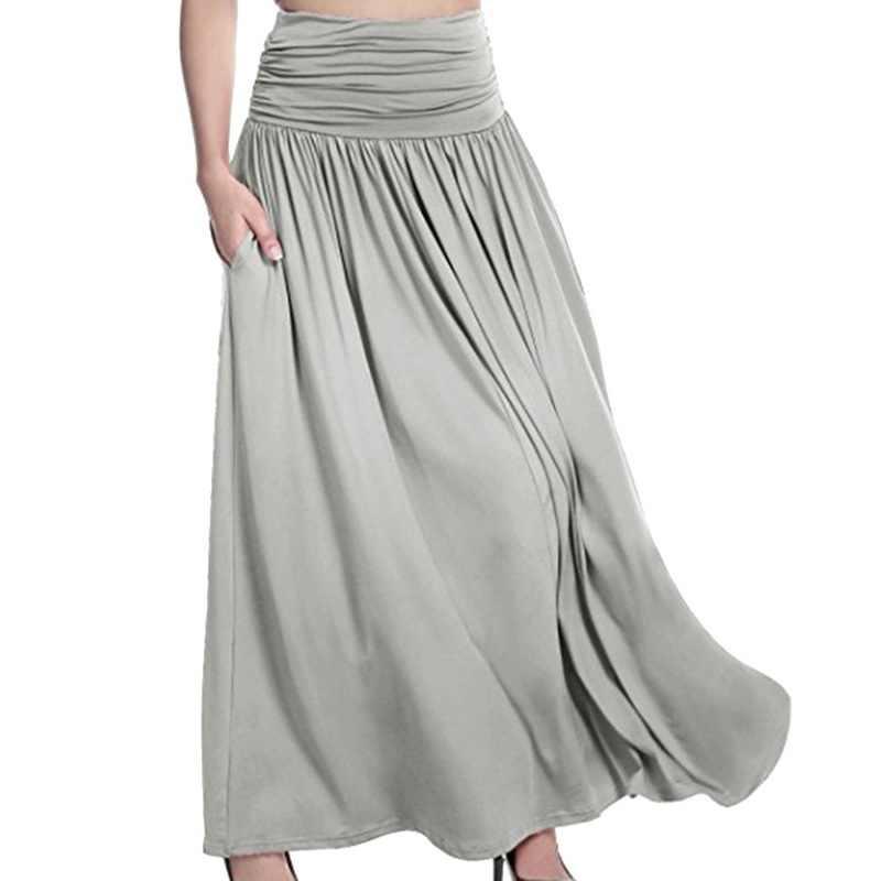 LAAMEI mujer volante Falda larga 2018 verano Boho Retro Floral estampado lateral hendidura Maxi Faldas Mujer cintura ancha pantalones de pierna