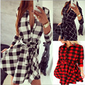 Vestidos De Fiesta Real Full Summer Dress 2017 Women Sexy Fashion Leisure And Moving Explosion Models Plaid Septa Sleeve Shirt