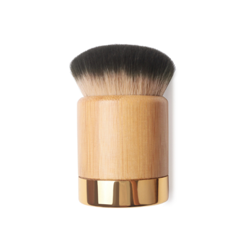 High end T Series Solid Bamboo Short Handle Domed Shape Kabuki Brush Round Foundation BB Cream Brush Makeup